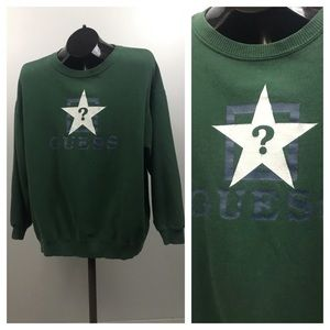 Guess Green Cotton Sweatshirt Mens Medium